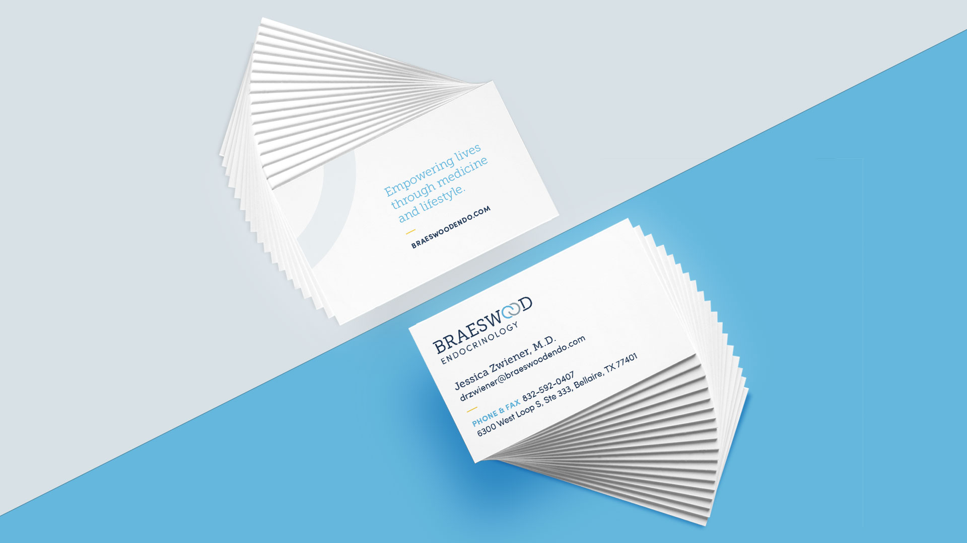 Braeswood Endocrinology medical practice business cards
