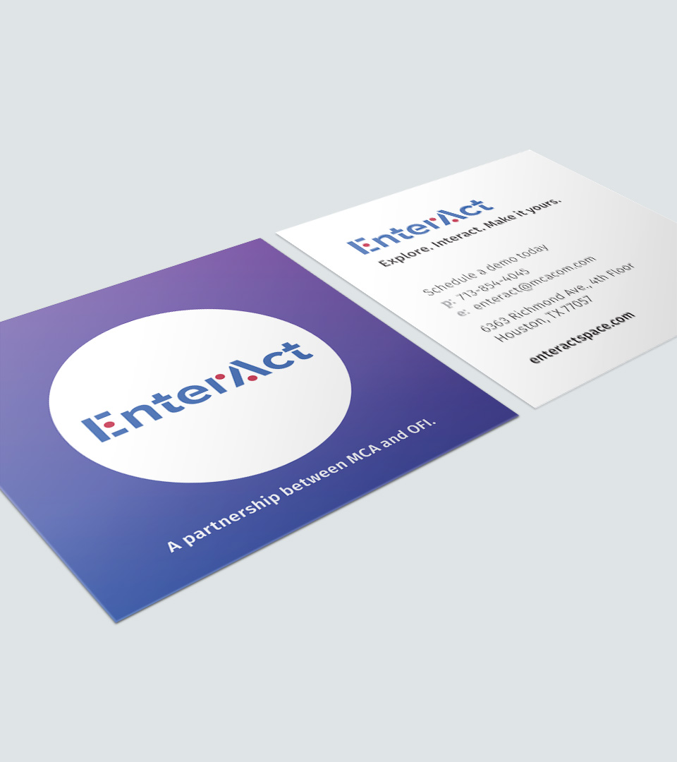 EnterAct Houston showroom business cards