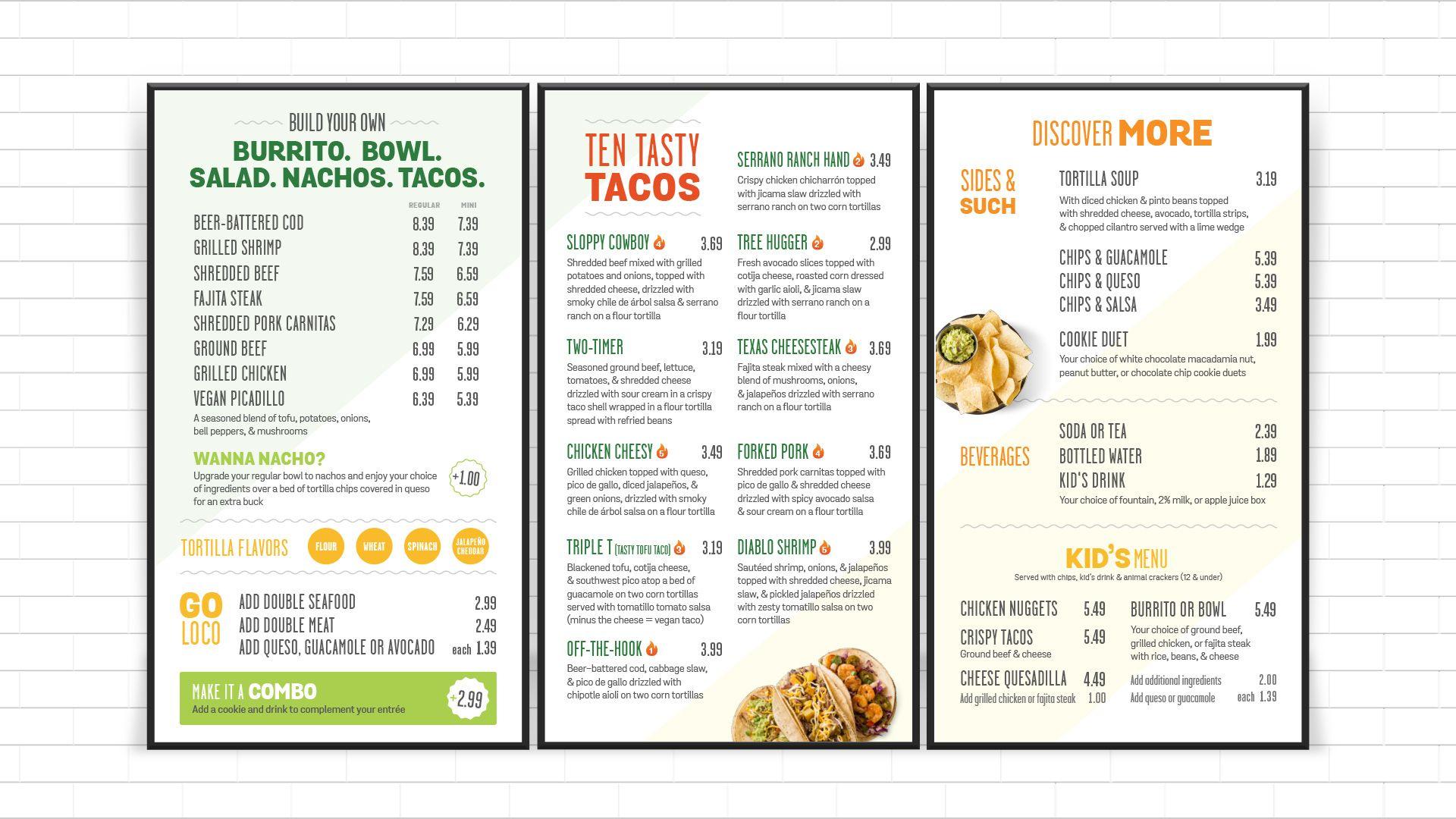 Uberrito fast-casual restaurant digital signage menu