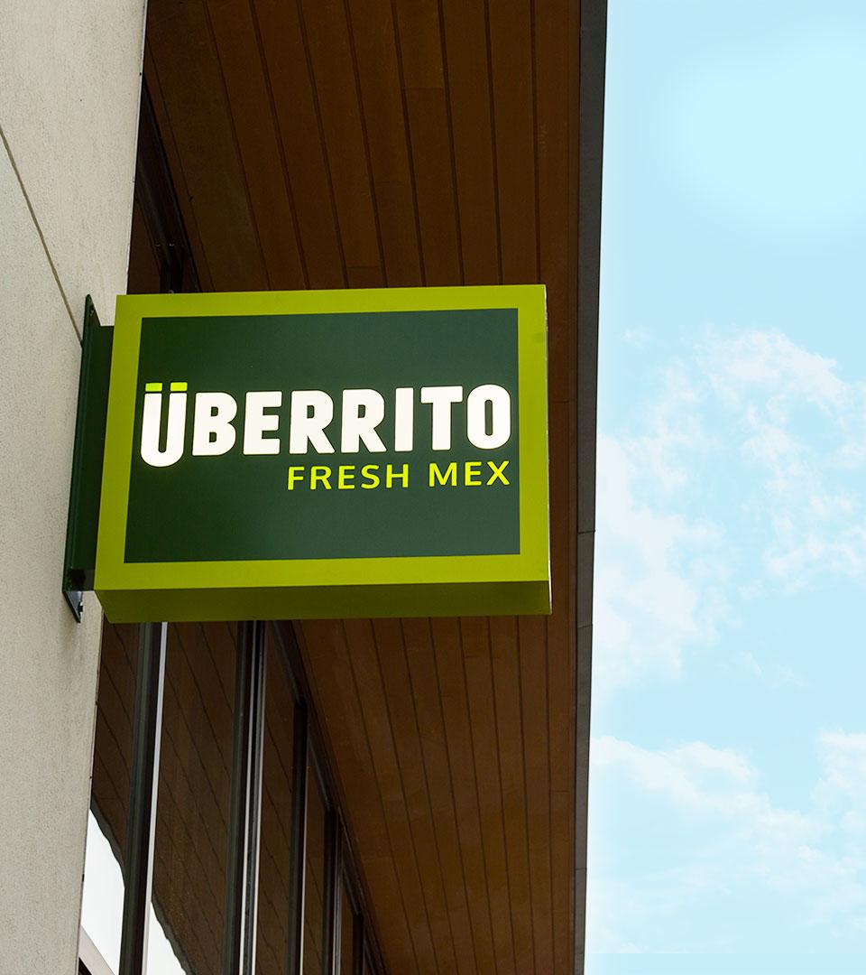 Uberrito fast-casual restaurant signage