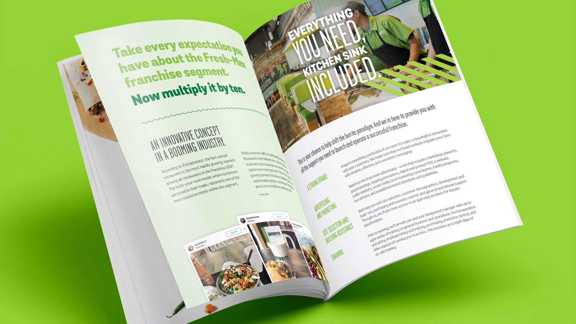 Uberrito fast-casual restaurant franchise brochure