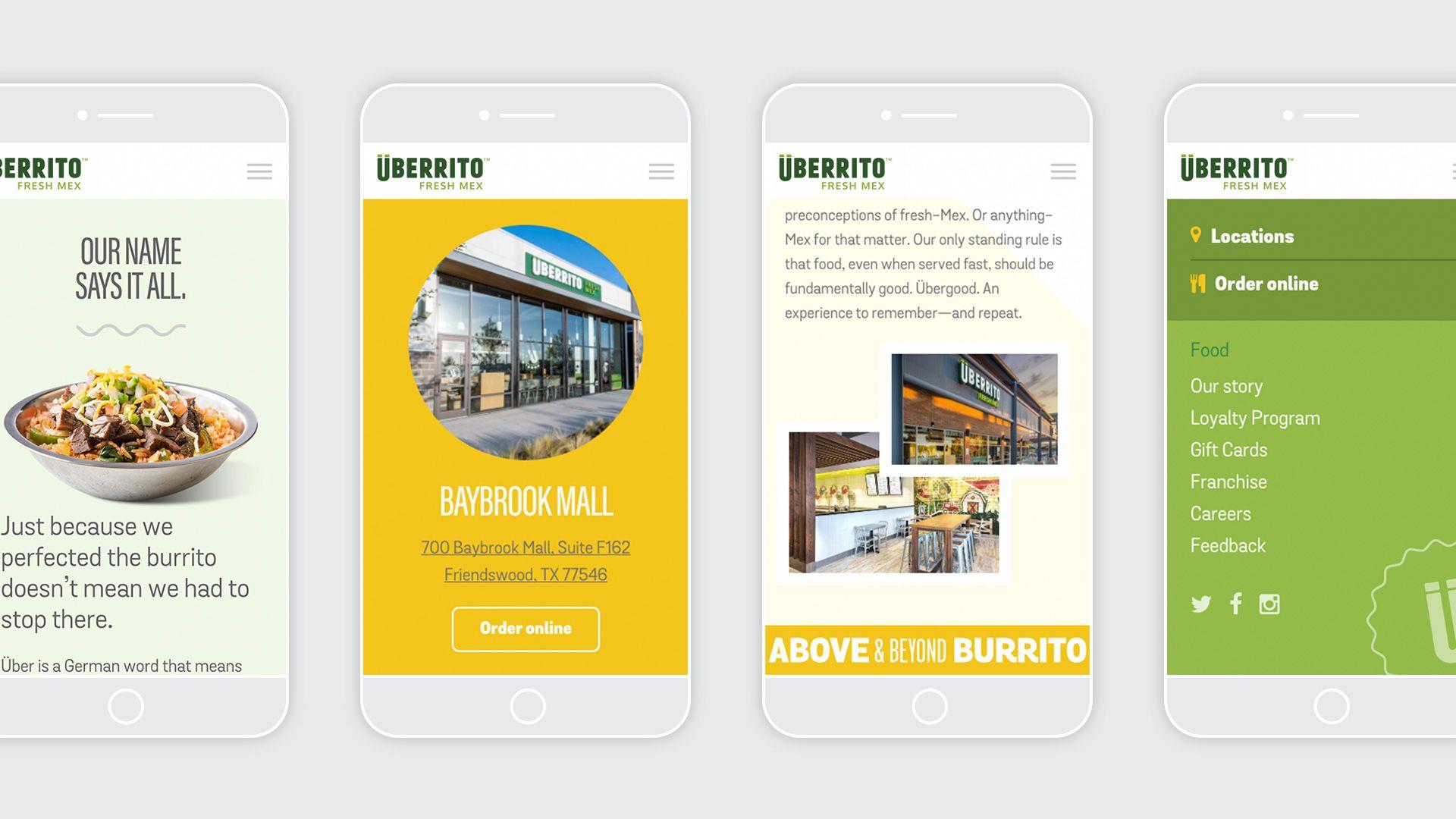 Uberrito fast-casual restaurant responsive website